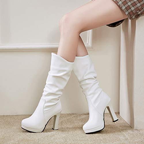 60986467b55ba DETAWIN Women Platform Mid Calf Boots PU Soft Leather Fashion Round Toe  Half High Heels Boots