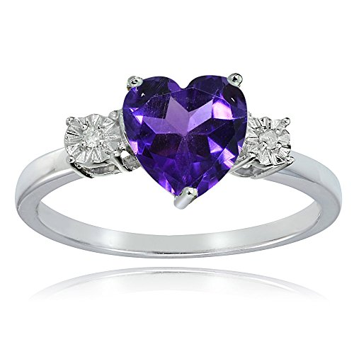 Ice Gems Sterling Silver African Amethyst and Heart Ring, Size 9