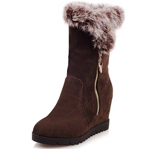 COOLCEPT Damen Winter koreanische Art Wildleder -Absatzschuhe Knöchel zunehmender Höhe Schneeschuhe mit Kunstfell Braun