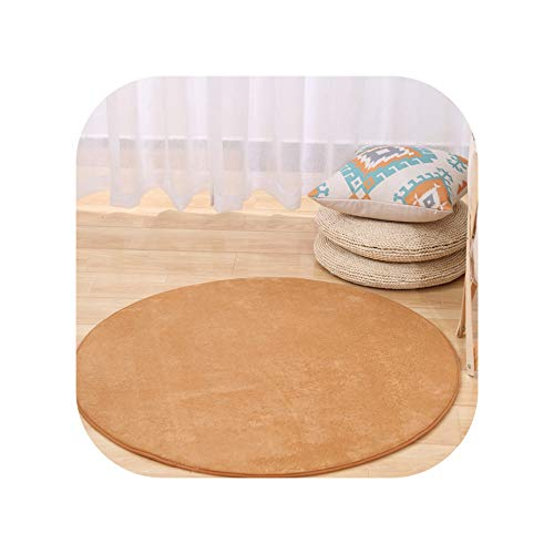 Solid Memory Foam Chair Mat Area Rug for Children Bedroom Rugs Mats Doormat Big Round Carpet for Living Room,Khaki,Customize