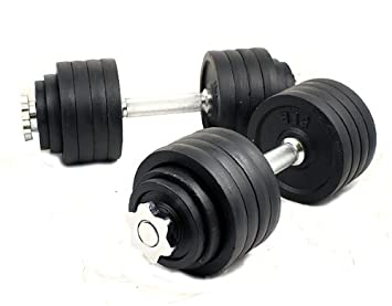 New one pair of 200 Lbs 100lbs x 2pc adjustable cast Iron dumbbell kit with stainless steel handle