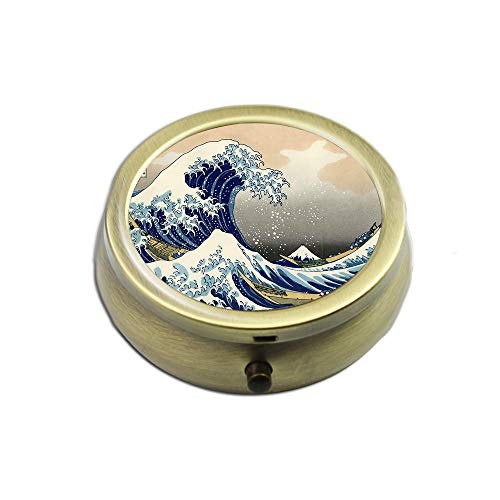 Pill Case - Cheliz Compact 3 Compartment Medicine Case, Pill Box for Pocket or Purse(Huge Wave)