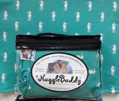'NUGGLEBUDDY NEW! Microwavable Moist Heat & Aromatherapy Organic Rice Pack. Aqua Seahorses with SWEET LAVENDER Aromatherapy! The Perfect Gift Idea!