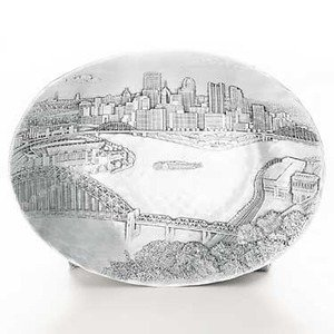 Wendell August Handmade Pittsburgh Cityscape 7 Inch Oval -