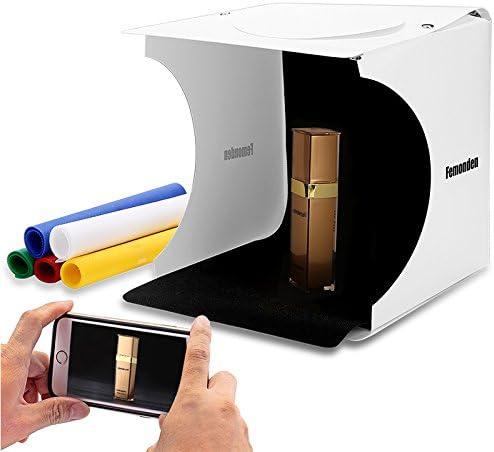 Portable Photo Studio Light Box for Jewellery and Small Items Folding Photo Lighting Studio Shooting Tent Box Kit(2x20 LED Lights 6 Colors Backdrops)
