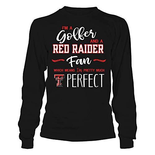 FanPrint Texas Tech Red Raiders T-Shirt - Perfect Golfer Texas Tech Raiders Fan T-Shirt | Tank - Longsleeve Tee/Black/XL ()