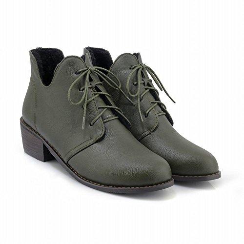 Mee Shoes Damen chunky heels runde kurzschaft ankle Boots Grün