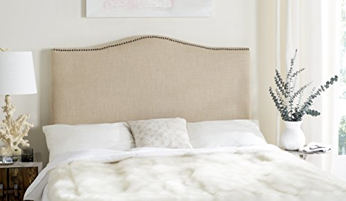 Safavieh Jeneve Hemp Linen Upholstered Headboard - Brass Nailhead (King)