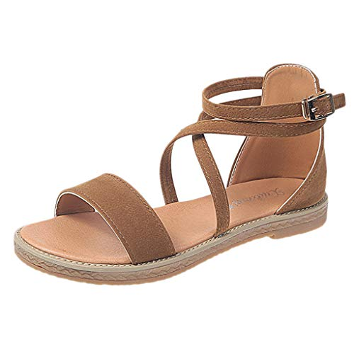 Sharemen Women's Ladies Summer Bohemian Cross Belt Flat Beach Sandals Roman Shoes(Brown,US: 7.5)