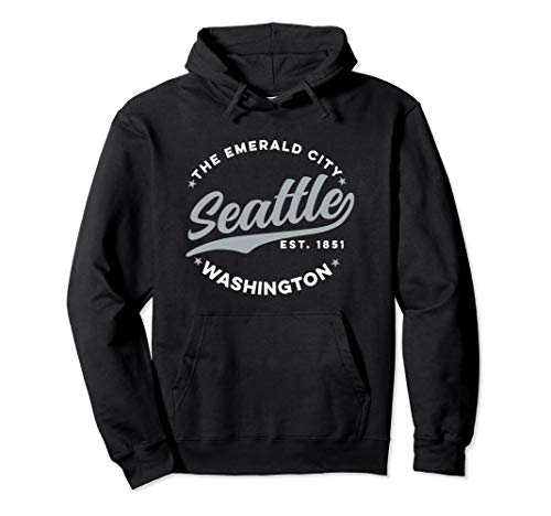 (Vintage Seattle Emerald City Washington Teal Text Pullover Hoodie)