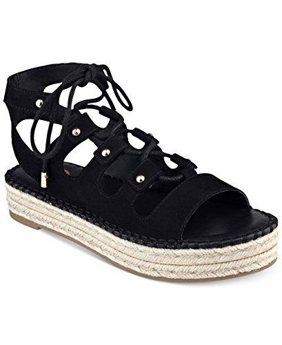 G by GUESS Womens Keeny Lace-up Platform Espadrille Sandals Black 7.5 M US