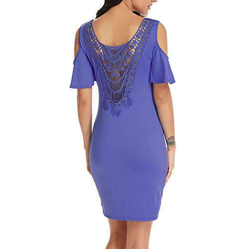Yxiudeyyr Women Back Lace Insert Mini Dress Casual Solid Strapless Cold Shoulder Bodycon Shirt Dress Purple ()