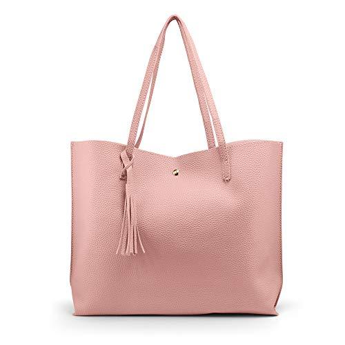 OCT17 Women Tote Bag - Tassels Faux Leather Shoulder Handbags, Fashion Ladies Purses Satchel Messenger Bags - Pink