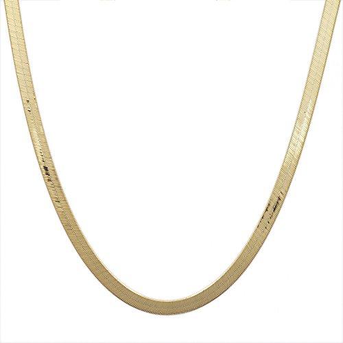 16 Inch 10k Yellow Gold Super Flexible Silky Herringbone Chain Necklace for Women & Girls 0.12