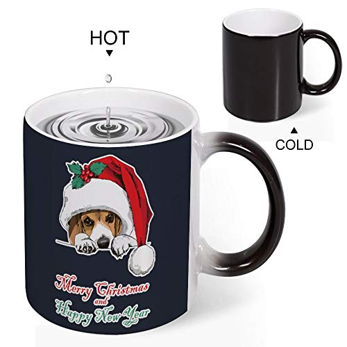 Welkoom Color Changing Coffee Mug Cup, Personalized Merry Christmas And Happy New Year Beagle Christmas Xmas Holiday Diy Print Mugs That Change With Heat Birthday Christmas Gift
