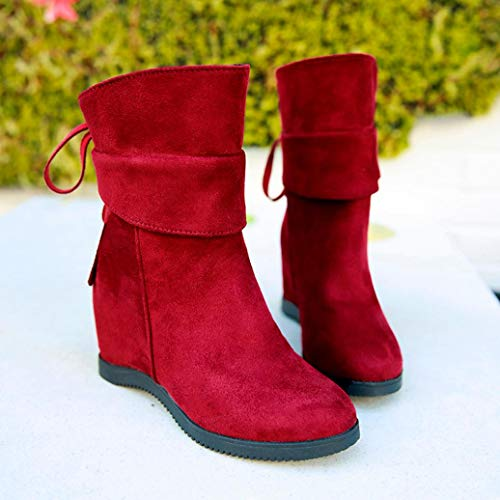 in Schuhe Freizeit Damen Thick Lack Mode Blockabsatz Party Glitzer Wein Elegant Schuhe Vergrößern Plateaustiefel Malloom Rot Heel für Heels Soft Platform Damen High Bootssandaletten nT0Hv7I