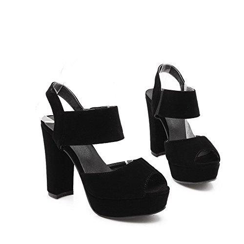 AllhqFashion Women's Solid Blend Materials High Heels Peep Toe Pull On Sandals Black rg1On