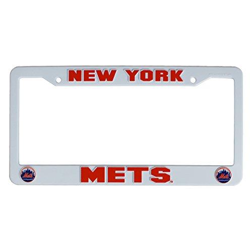 (MLB New York Mets Plastic License Plate Frame - White)