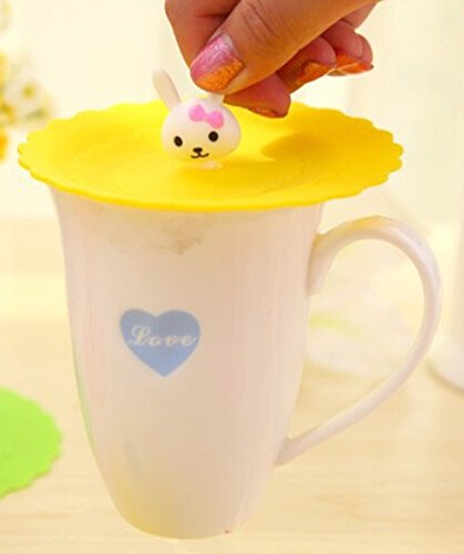 Food Grade Silicone Cup Lids Reusable Silicone Coffee Mug Cover Anti-Dust Drink Cover (4.25 inches in diameter, At Random)