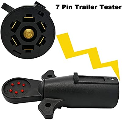 NEW SUN Heavy Duty 7-Way Trailer Light Circuit Connector Tester w/LED 7 PIN Round RV Blade Electric Wiring Adapter: Automotive