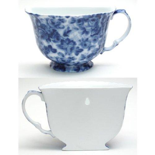 FindingKing Porcelain Tea Cup Wall Pocket - Blue Floral