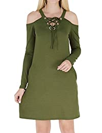 ESONLAR Women Sexy Cold Shoudler Long Sleeve Pockets Casual Tunic Dress
