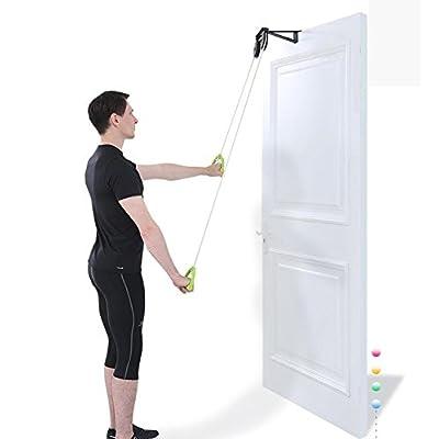 Poulie d'exercice pour épaules,poulie montage sur porte,poulie de poignée avec support métallique prolongé(une poulie en acier inoxydable)(deux poulies en plastique)