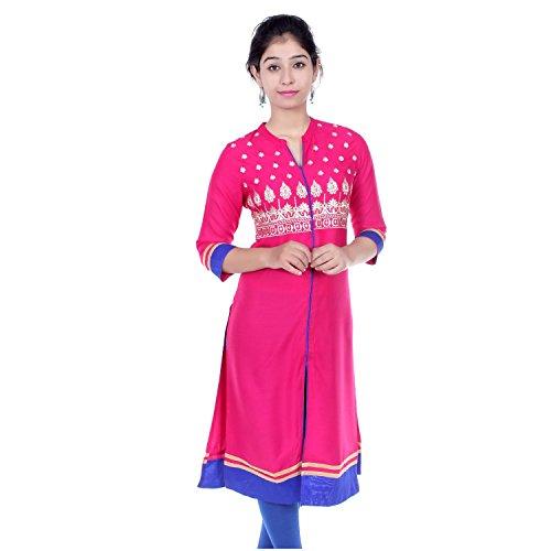 Chichi Indian Women Kurta Kurti 3/4 Sleeve Medium Size Plain with Side-Front Cut Straight Pink Top by CHI
