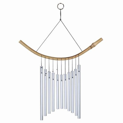 Zinger Wind Chimes 11 Metal Tubes with Bamboo Reverse ()
