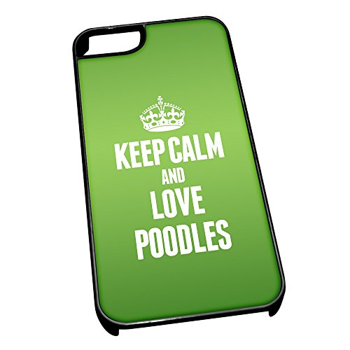 Nero cover per iPhone 5/5S 2053 verde Keep Calm and Love Poodles