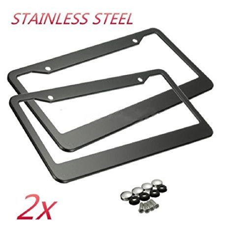2 Pieces Black Stainless Steel Metal License Plate Frame Tag Cover Screw Caps