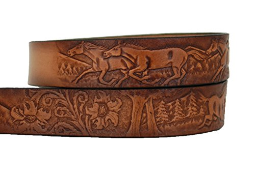 High Springs Leather Children's Name Belt Horse Scene Personalized (26 (7 to 9 Reg)) - Scene Buckle