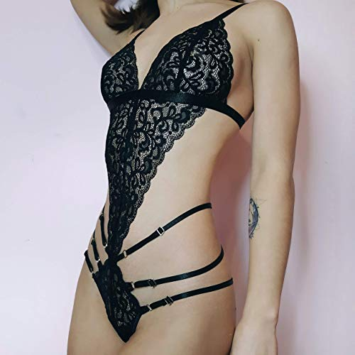 (Body Harness Lace Lingerie Bodysuits Women Strappy Lingerie Garter Belt Stockings See Through Panties Strappy G-String Panties Lingerie Lace Bodysuit Women Garters Harness Gift Women Lingerie in Box)