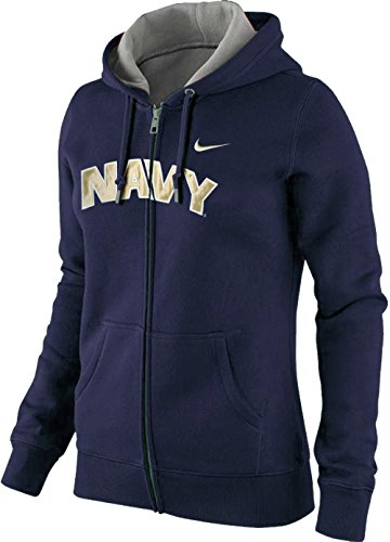 Nike Womens US Navy Midshipmen Arch Name Wordmark NCAA Classic Full Zip Hoodie (Navy Blue, Small)