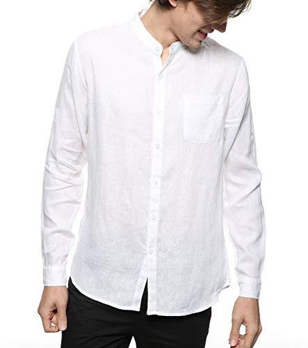 BYLUNTA Mens 100% Linen Long Sleeve Band Collar Casual Beach Shirt Regular Fit