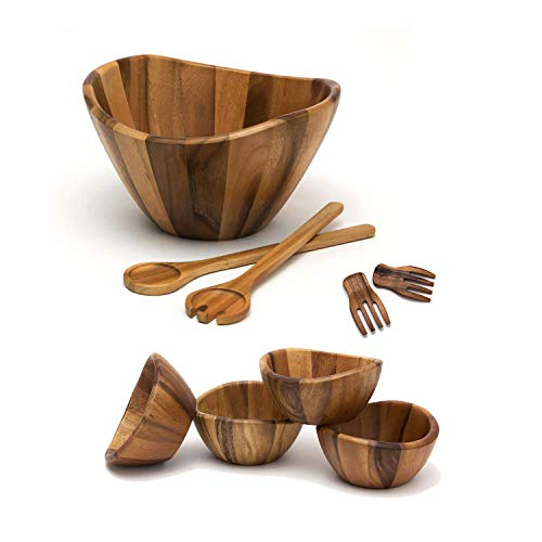 Lipper International Large Bowl, Servers, Pasta Hands & 4 Bowls Wooden Salad Set