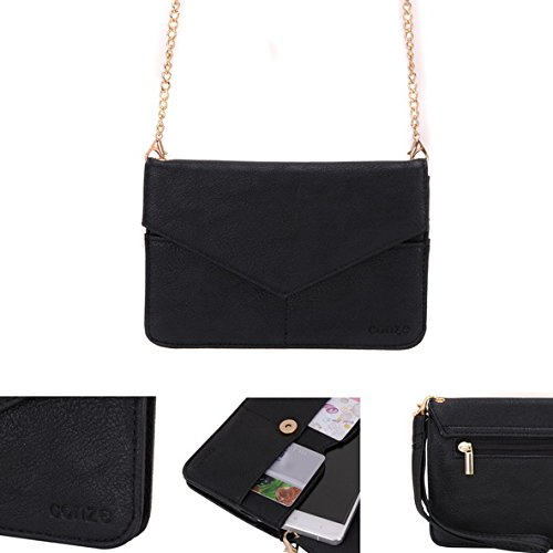 Conze Mujer embrague cartera todo bolsa con correas de hombro para teléfono inteligente para Honor 8/5C negro negro negro
