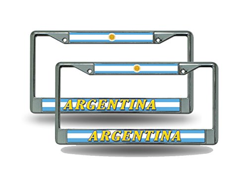 Rico Argentina World Cup Soccer (Football) Chrome Metal (2) License Plate Frame Set by Rico