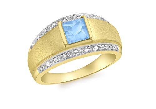 9ct or jaune Diamant carré et topaze bleue Bague