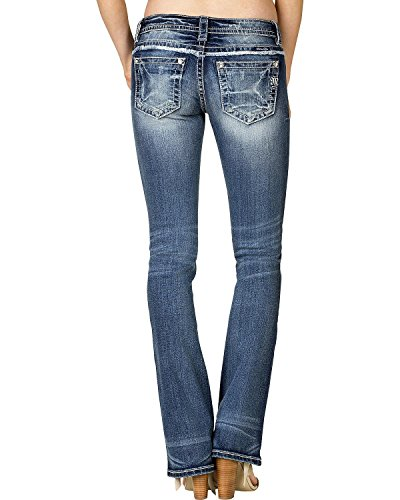 Miss Me Women's Embroidered Slim Bootcut Jeans Extended Size Blue 30