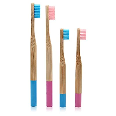 Genkent 4 Pcs Round Handle Toothbrushes - Color-Coded Family Pack - Environment Eco friendly wooden Bamboo Toothbrush Oral Care Soft Bristle