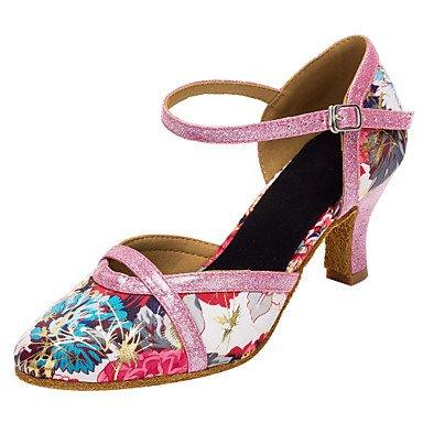 """Women'sAmérica/Zapatos de baile moderno/Satinado brillante Glitter sandalias de tacón/talón interior personalizable,4"""" (10cm) Slim de tacón alto,Rosa,US4-4.5/EU34/UK2-2.5/CN33"""