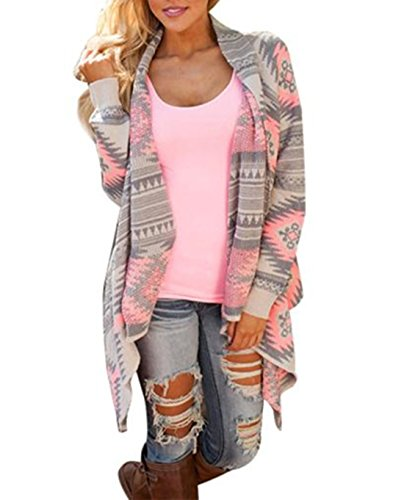 Price comparison product image TAORE Women's Shawl Collar Thick Geometric Printed Open Front Cardigan (M,  Pink)