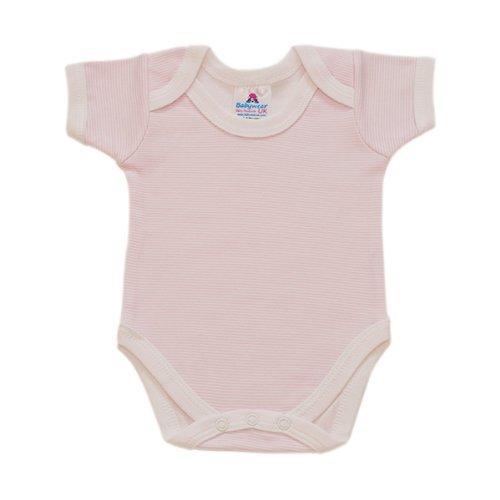 BabywearUK Pink Stripe Env Neck Short sleeve Body vest - 0-3months - British Made