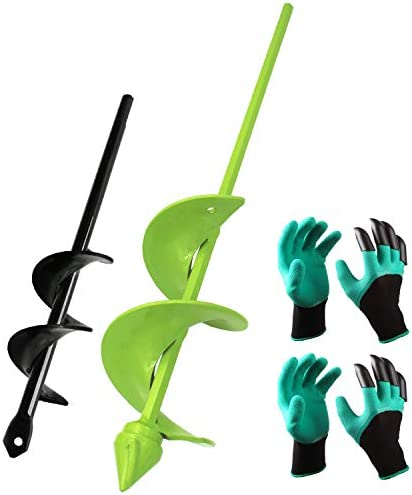 BLIKA Garden Plant Flower Bulb Auger 1.60\u201d x 9\u201d and 3\u201d x 16\u201d Plant AugerGarden Genie Gloves