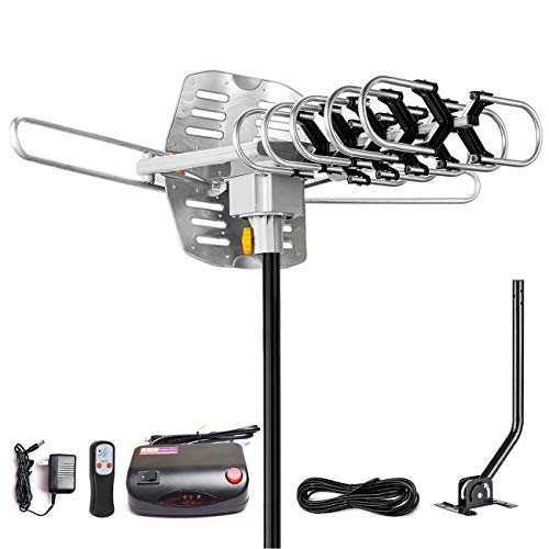 2019 Version HDTV Antenna Amplified Digital Outdoor Antenna -150 Miles Range-360 Degree Rotation Wireless Remote-Snap- Wireless Remote Control - UHF/VHF 4K 1080P Channels- On Installation Support 2 TV (Best Small Digital Tv)