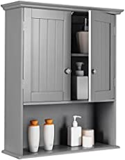 Tangkula Wall Mount Bathroom Cabinet Wooden Medicine Cabinet Storage Organizer with 2-Doors and 1- Shelf Cottage Collection Wall Cabinet