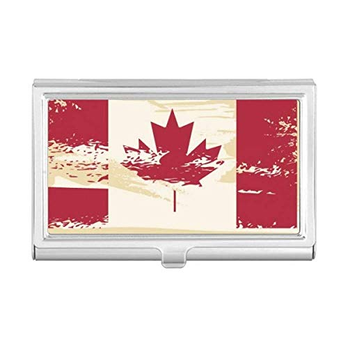 Canada Flavor Flag and Maple Leaf Business Card Holder Case Wallet