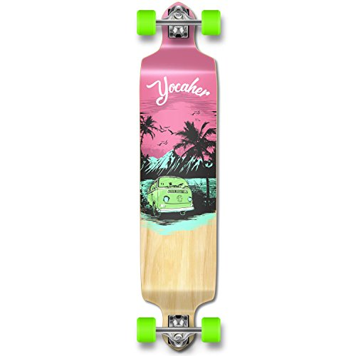 Yocaher Drop Down concave Pro Complete Longboard Cruiser Freestyle Skateboard Decks (Complete-VW-Pink N' Mint) ()