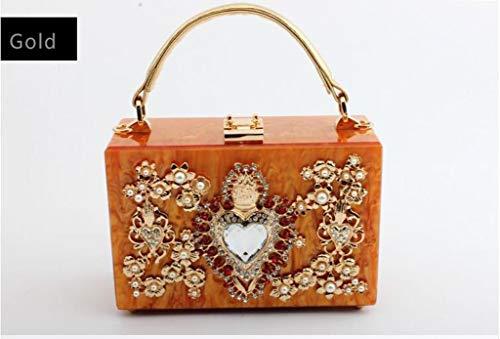 Donna E Diamond Da Square Borsetta Banchetto Myydd Bag Diamantata Gold Borsa Perla Sposa Rossa Acrilica pink Ewnp5nYUqX
